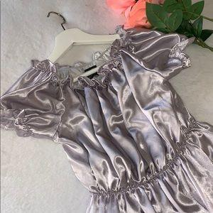 NWT O Mighty Grey Babydoll Satin Mini Dress